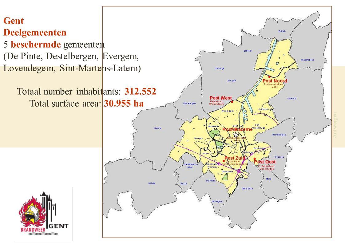 19 november 2007 - Brandweer Antwerpen Gent Deelgemeenten 5 beschermde gemeenten (De Pinte, Destelbergen, Evergem, Lovendegem, Sint-Martens-Latem) Totaal number inhabitants: 312.552 Total surface area: 30.955 ha