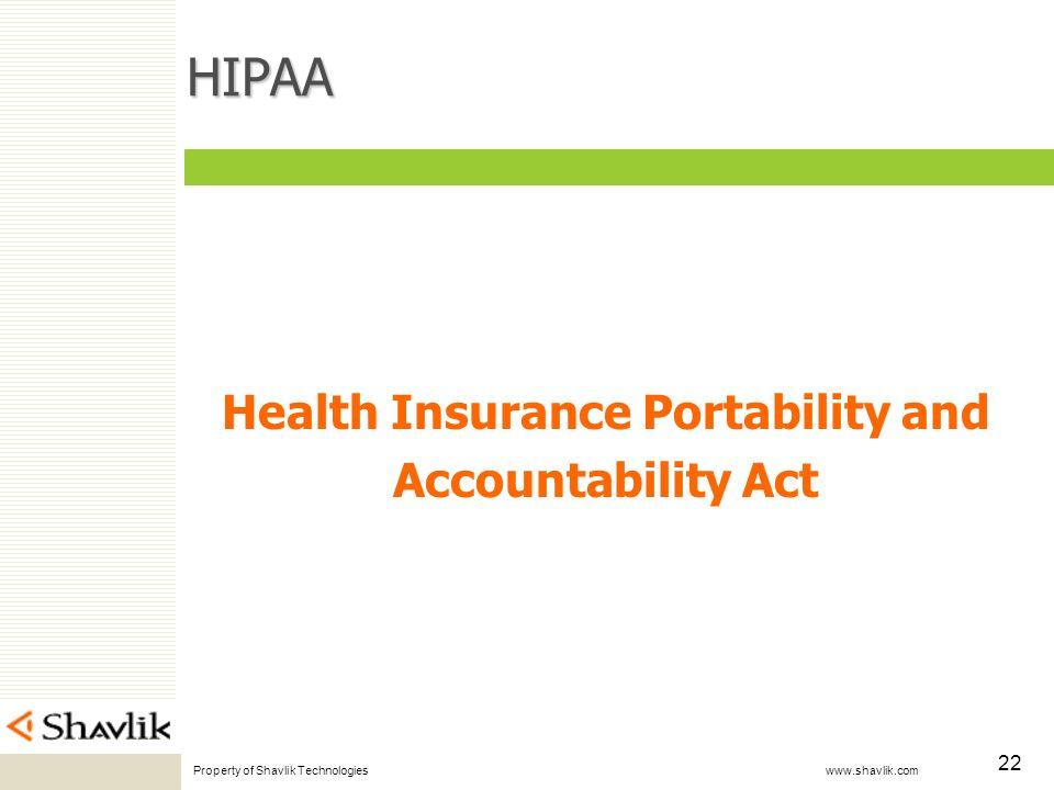 Property of Shavlik Technologies www.shavlik.com 22 HIPAA Health Insurance Portability and Accountability Act