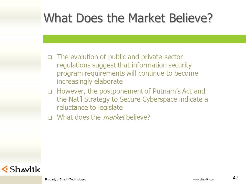Property of Shavlik Technologies www.shavlik.com 47 What Does the Market Believe? The evolution of public and private-sector regulations suggest that
