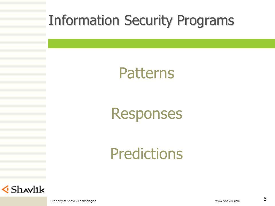 Property of Shavlik Technologies www.shavlik.com 5 Information Security Programs Patterns Responses Predictions