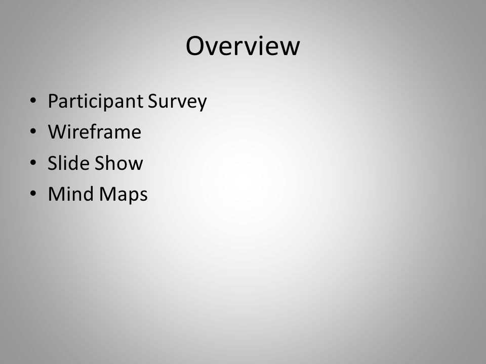 Overview Participant Survey Wireframe Slide Show Mind Maps