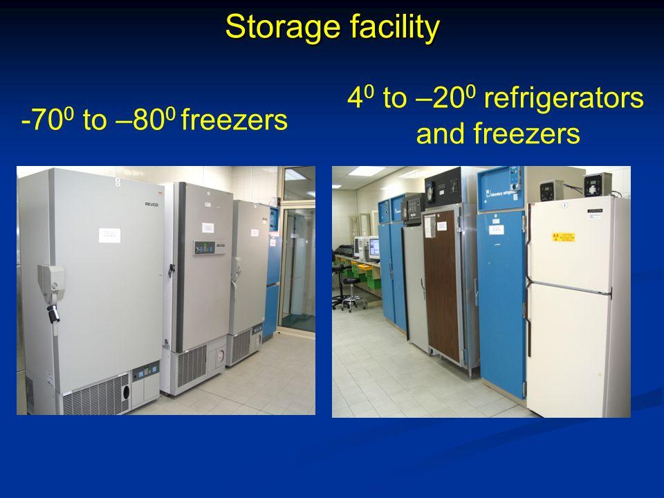 Storage facility -70 0 to –80 0 freezers 4 0 to –20 0 refrigerators and freezers