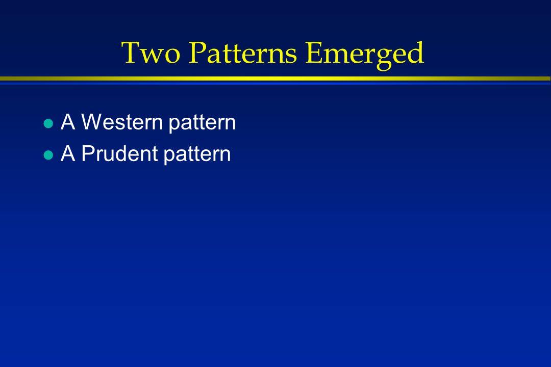 Two Patterns Emerged l A Western pattern l A Prudent pattern