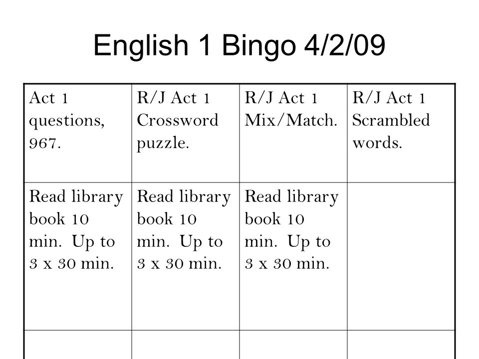 English 1 Bingo 4/2/09 Act 1 questions, 967. R/J Act 1 Crossword puzzle. R/J Act 1 Mix/Match. R/J Act 1 Scrambled words. Read library book 10 min. Up