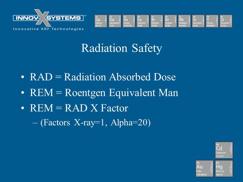 Radiation Safety RAD = Radiation Absorbed Dose REM = Roentgen Equivalent Man REM = RAD X Factor –(Factors X-ray=1, Alpha=20)