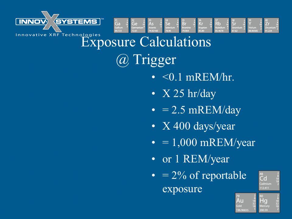 Exposure Calculations @ Trigger <0.1 mREM/hr. X 25 hr/day = 2.5 mREM/day X 400 days/year = 1,000 mREM/year or 1 REM/year = 2% of reportable exposure