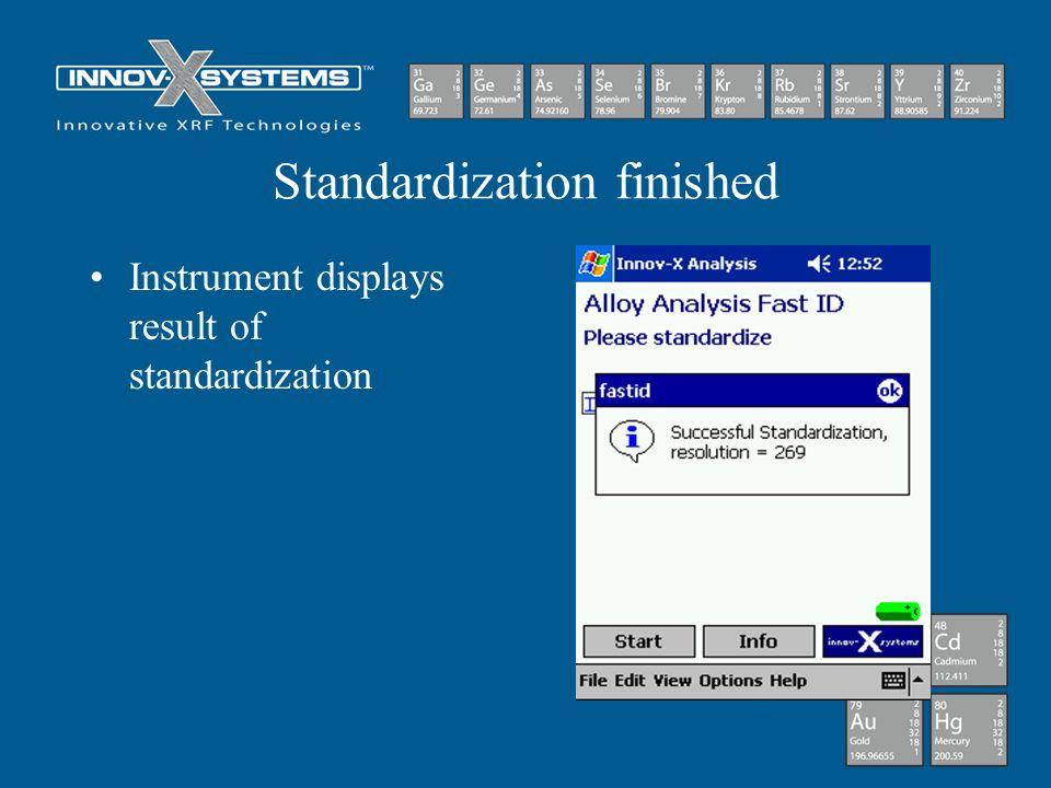 Standardization finished Instrument displays result of standardization