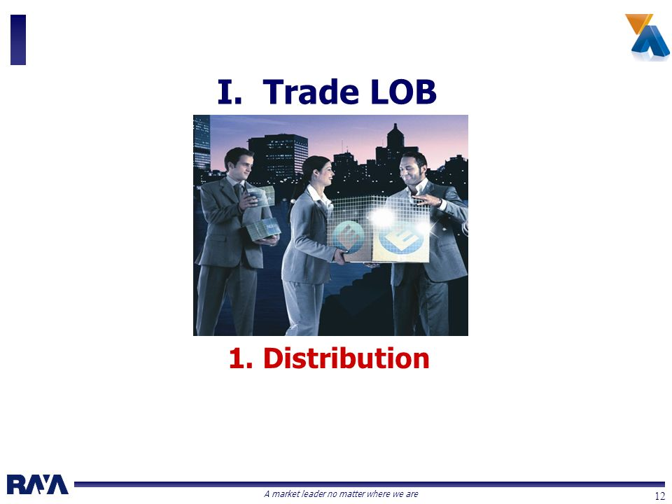 A market leader no matter where we are 12 1. Distribution I. Trade LOB