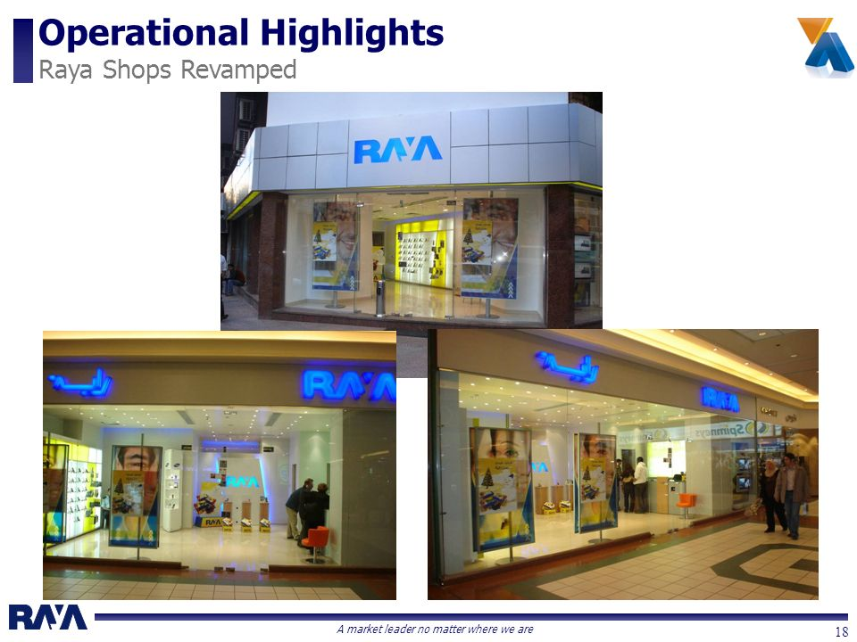 A market leader no matter where we are 18 Operational Highlights Raya Shops Revamped