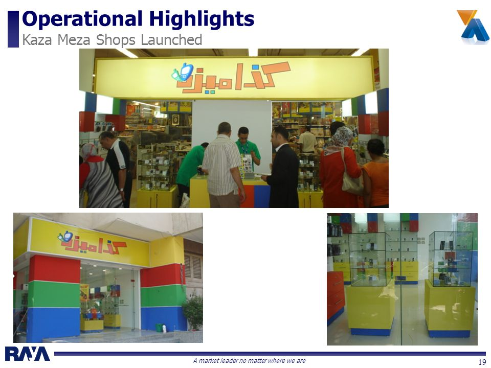A market leader no matter where we are 19 Operational Highlights Kaza Meza Shops Launched