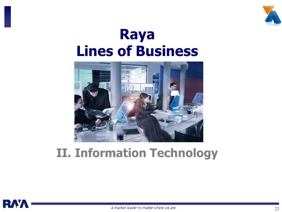 A market leader no matter where we are 25 II. Information Technology Raya Lines of Business