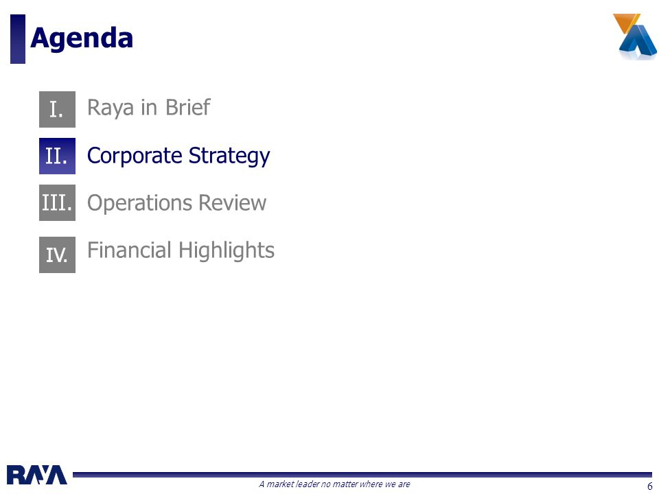 A market leader no matter where we are 6 Raya in Brief Corporate Strategy Operations Review Financial Highlights Agenda I. II. III. IV.