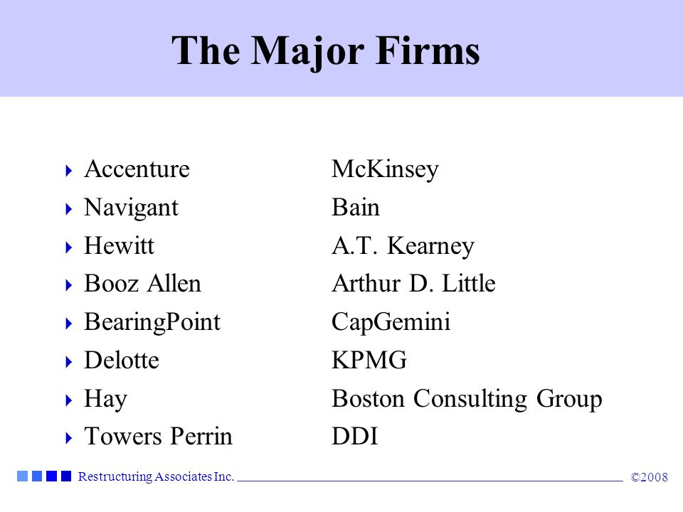 Restructuring Associates Inc.©2008 Why Consultants.