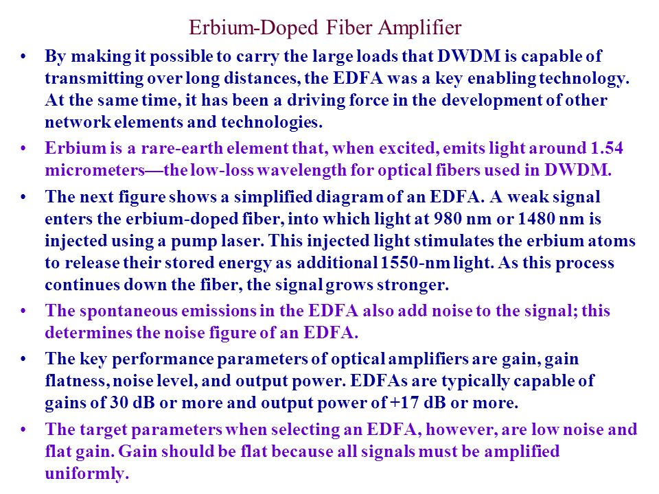 EDFA Noise Figure In order to correctly determine the noise figure, the ASE level must be determined at the signal wavelength.