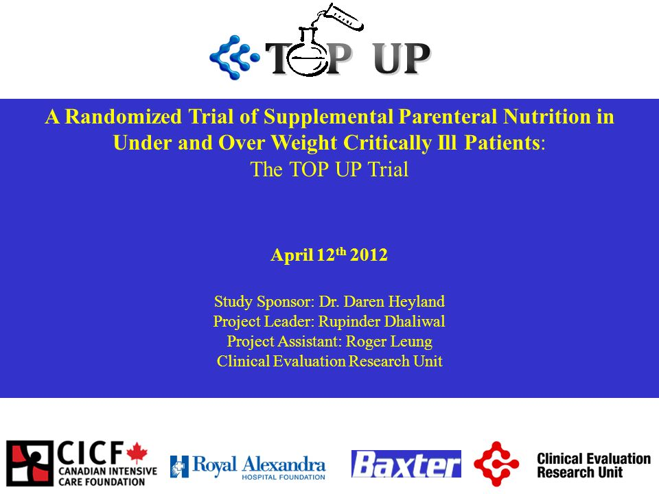 A Randomized Trial of Supplemental Parenteral Nutrition in Under and Over Weight Critically Ill Patients: The TOP UP Trial April 12 th 2012 Study Spon