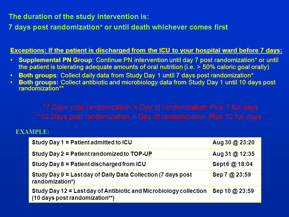 Exceptions: If the patient is discharged from the ICU to your hospital ward before 7 days: Supplemental PN Group: Continue PN intervention until day 7