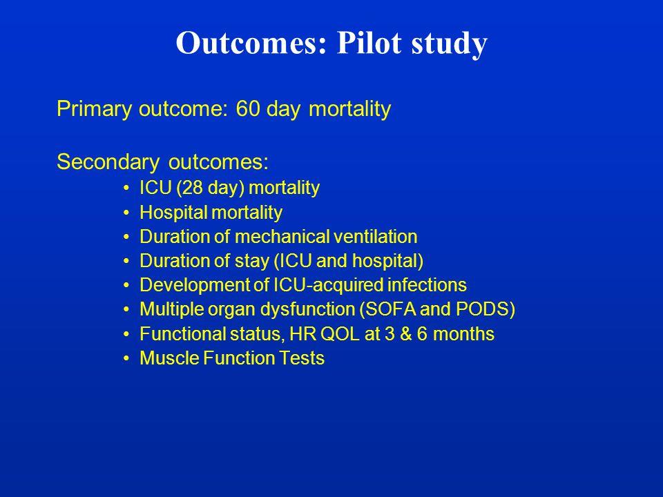 Outcomes: Pilot study Primary outcome: 60 day mortality Secondary outcomes: ICU (28 day) mortality Hospital mortality Duration of mechanical ventilati