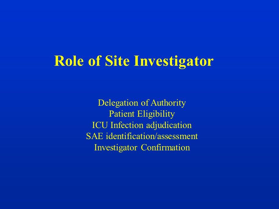 Role of Site Investigator Delegation of Authority Patient Eligibility ICU Infection adjudication SAE identification/assessment Investigator Confirmati
