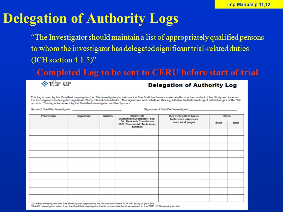 Delegation of Authority Logs The Investigator should maintain a list of appropriately qualified persons to whom the investigator has delegated signifi