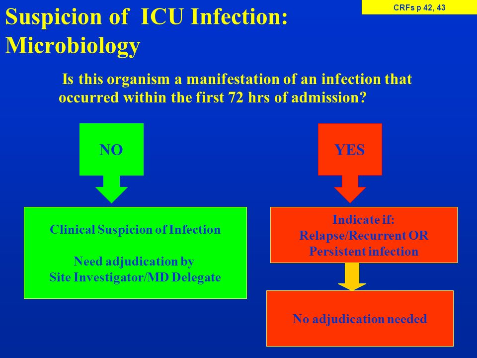 Suspicion of ICU Infection: Microbiology Is this organism a manifestation of an infection that occurred within the first 72 hrs of admission? NO Clini