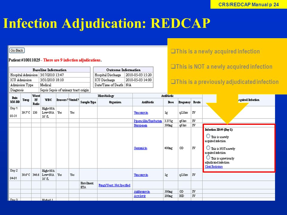 Infection Adjudication: REDCAP This is a newly acquired infection This is NOT a newly acquired infection This is a previously adjudicated infection CR