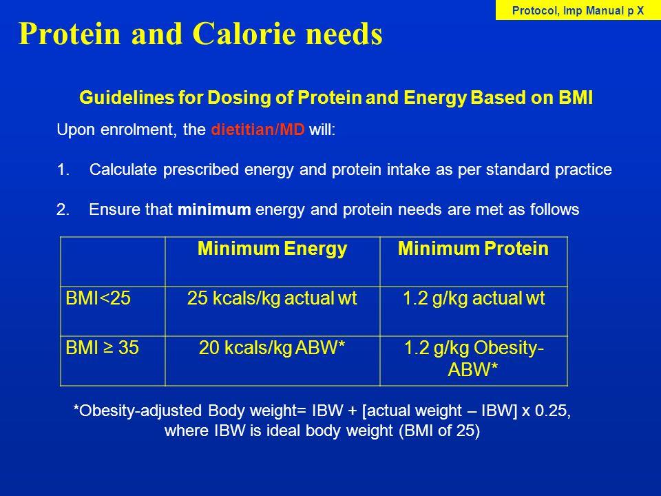 Protein and Calorie needs Minimum EnergyMinimum Protein BMI<2525 kcals/kg actual wt1.2 g/kg actual wt BMI 3520 kcals/kg ABW*1.2 g/kg Obesity- ABW* Gui