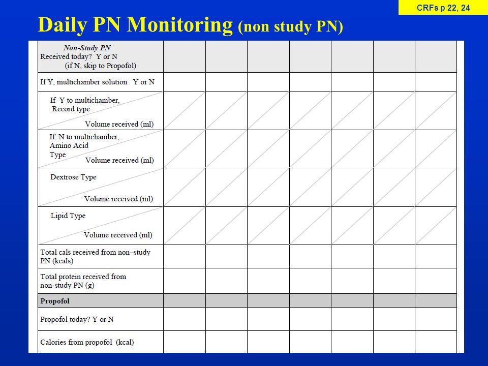 Daily PN Monitoring (non study PN) CRFs p 22, 24