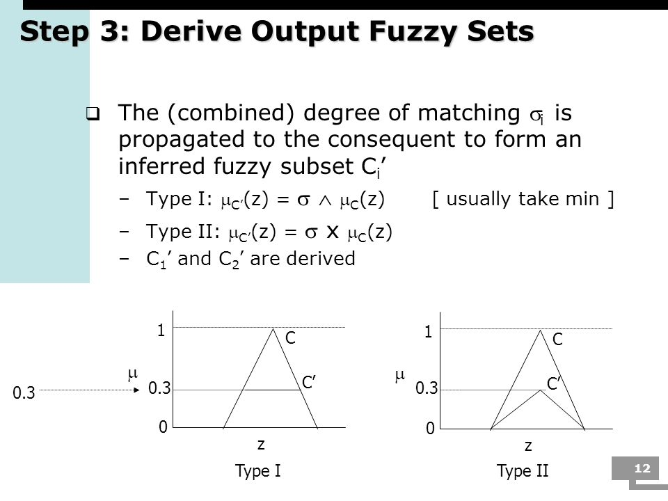12 Step 3: Derive Output Fuzzy Sets The (combined) degree of matching i is propagated to the consequent to form an inferred fuzzy subset C i –Type I: