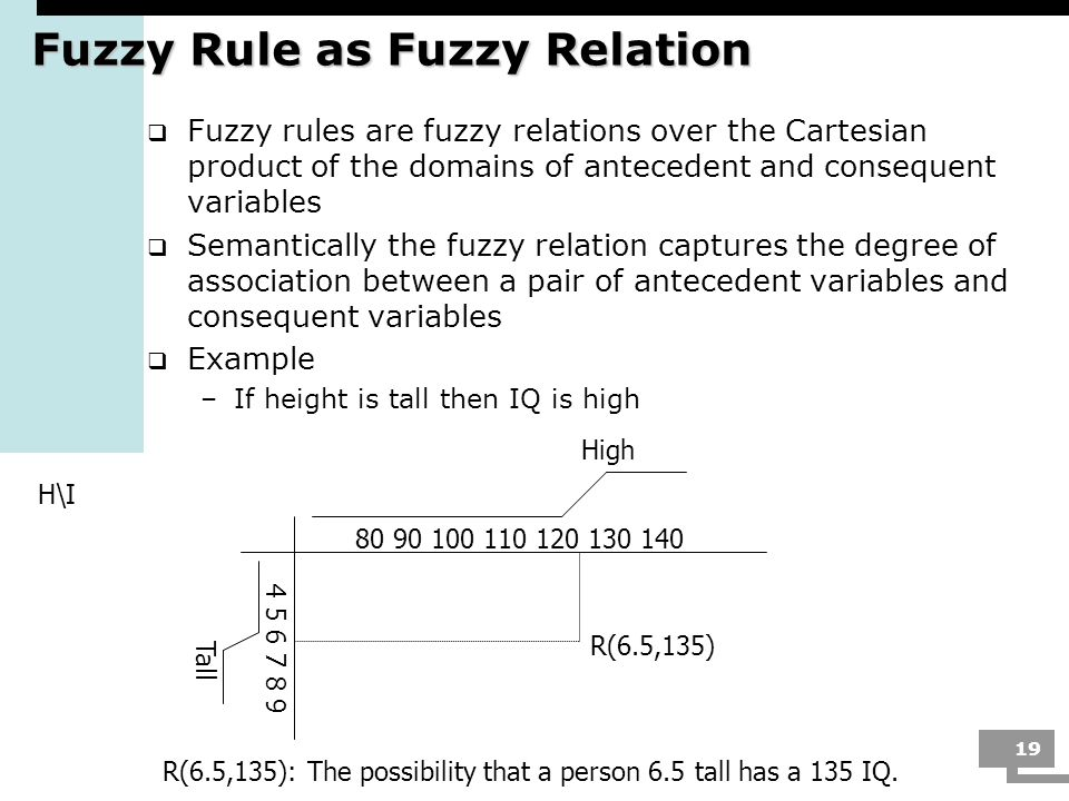 19 Fuzzy Rule as Fuzzy Relation Fuzzy rules are fuzzy relations over the Cartesian product of the domains of antecedent and consequent variables Seman