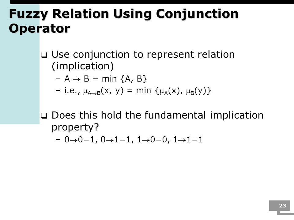 23 Fuzzy Relation Using Conjunction Operator Use conjunction to represent relation (implication) –A B = min {A, B} –i.e., AB (x, y) = min { A (x), B (