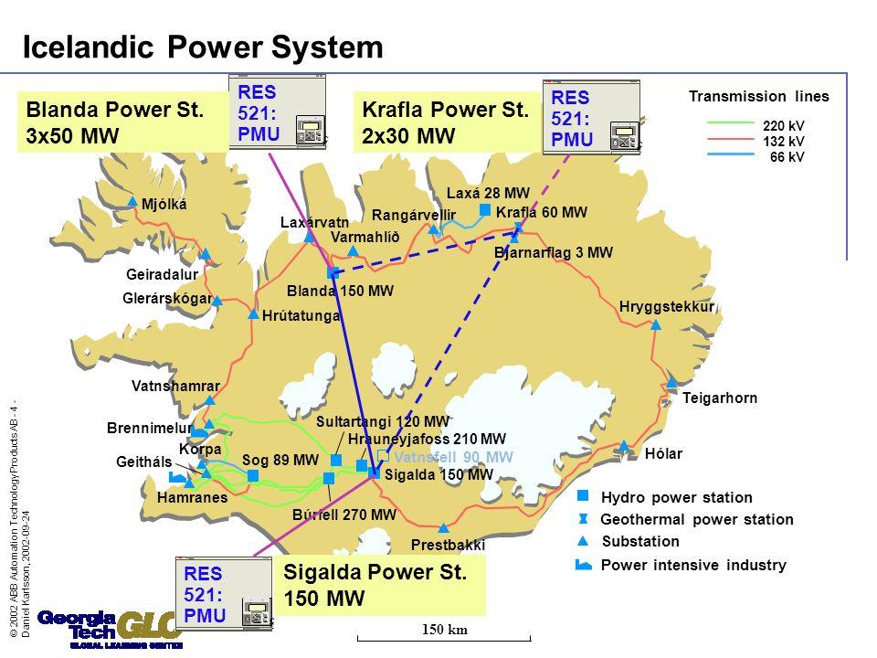 © 2002 ABB Automation Technology Products AB - 4 - Daniel Karlsson, 2002-09-24 Hryggstekkur Laxá 28 MW Sog 89 MW Hamranes Blanda 150 MW Brennimelur Ko