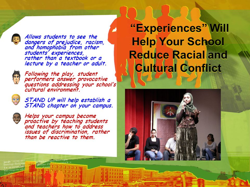 Experiences Will Help Your School Reduce Racial and Cultural Conflict Allows students to see the dangers of prejudice, racism, and homophobia from oth