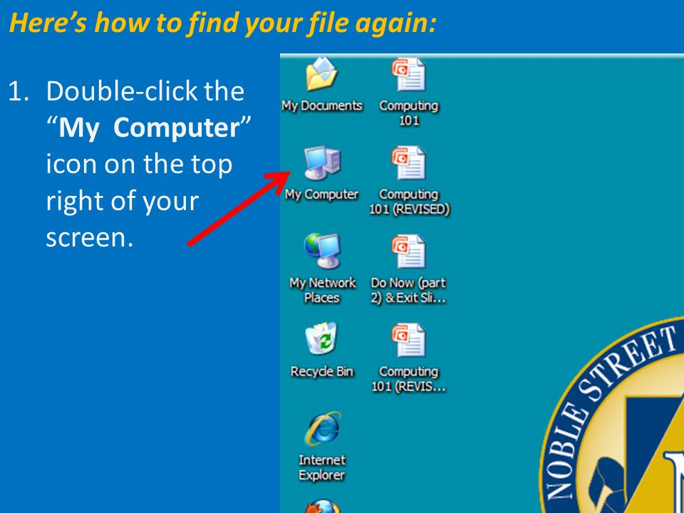2. Double click your USB folder (F:) or the My Documents folder