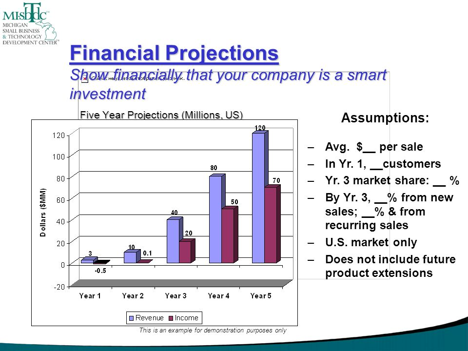Financial Projections Show financially that your company is a smart investment Five Year Projections (Millions, US) Assumptions: –Avg. $__ per sale –I