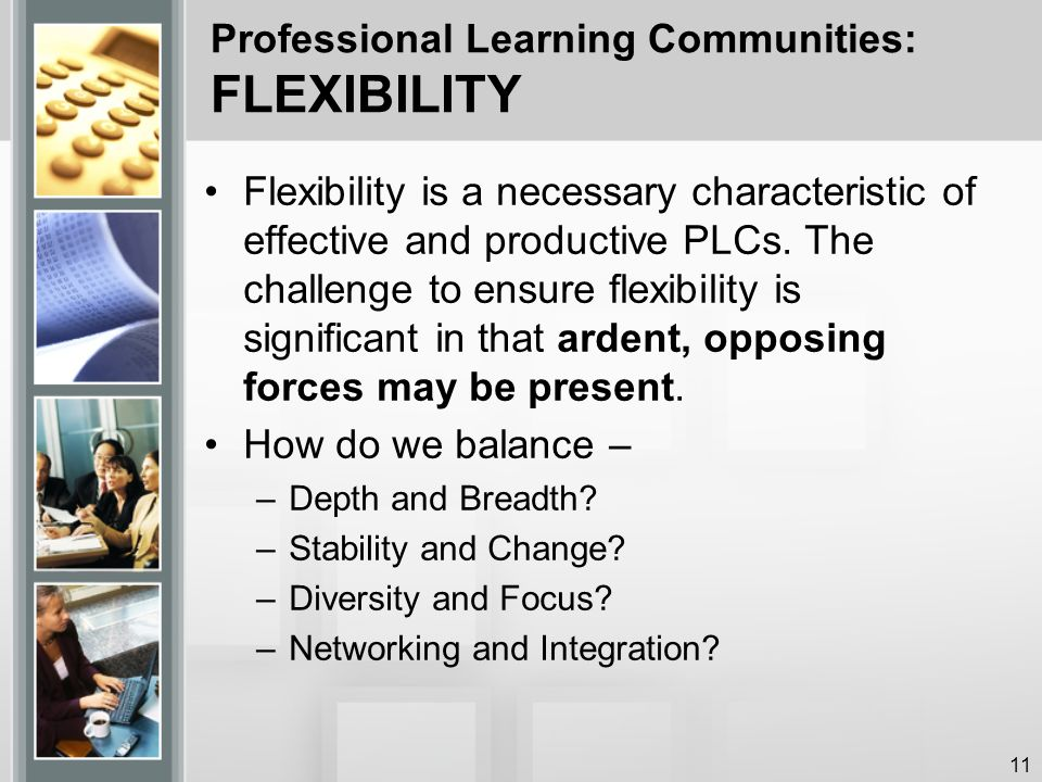 Professional Learning Communities: FLEXIBILITY Flexibility is a necessary characteristic of effective and productive PLCs.