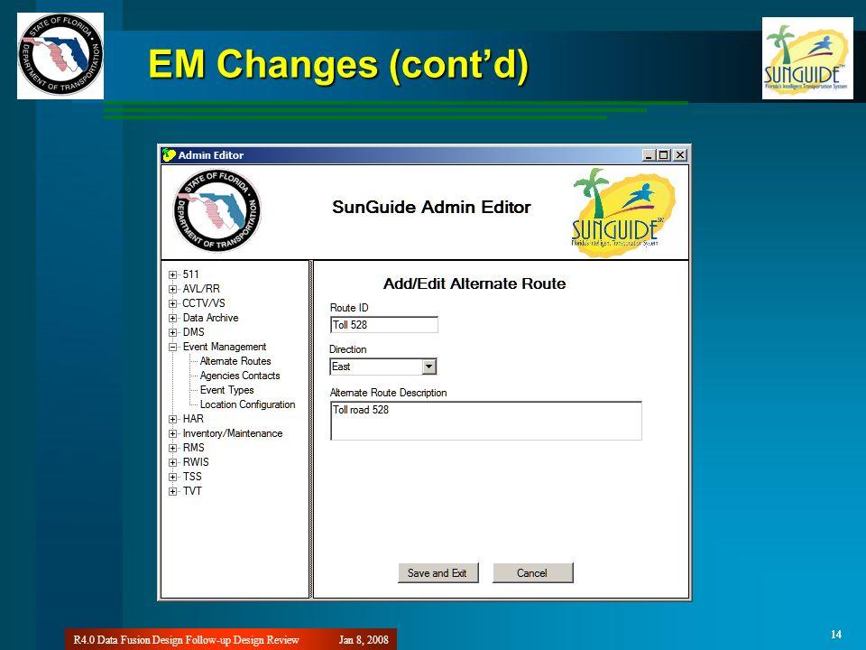 14 Jan 8, 2008R4.0 Data Fusion Design Follow-up Design Review 14 EM Changes (contd)