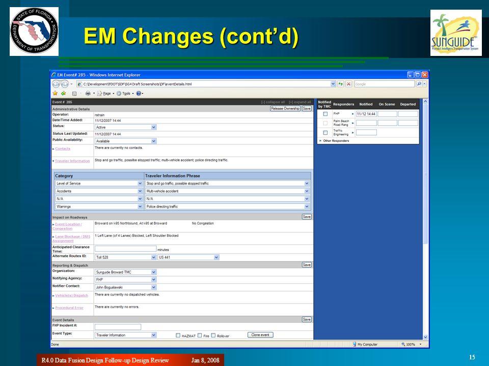 15 Jan 8, 2008R4.0 Data Fusion Design Follow-up Design Review 15 EM Changes (contd)
