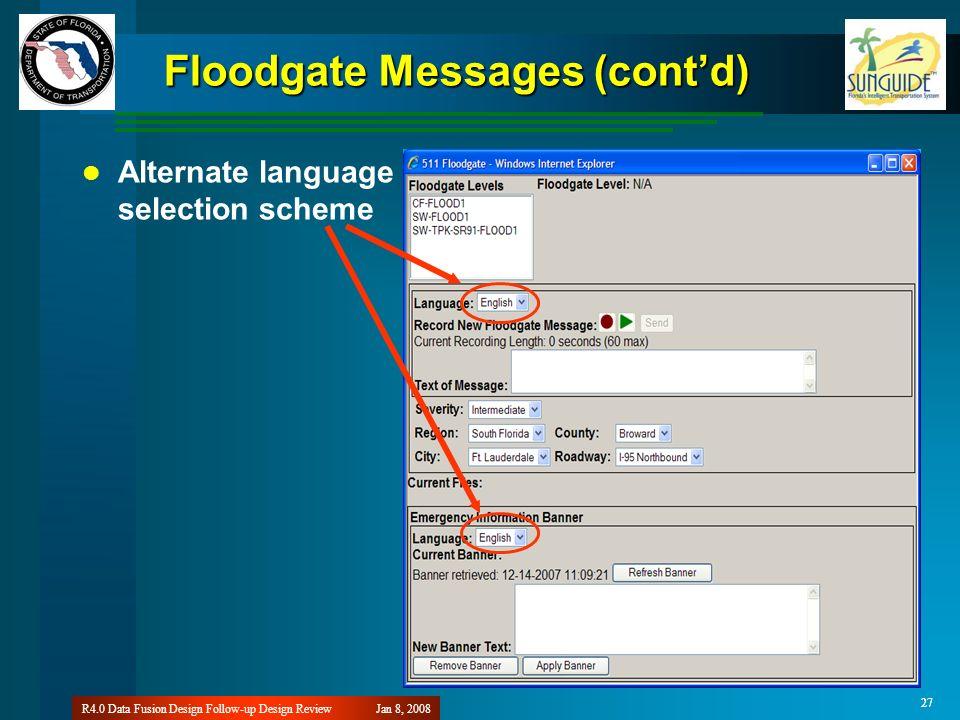 27 Jan 8, 2008R4.0 Data Fusion Design Follow-up Design Review 27 Floodgate Messages (contd) Alternate language selection scheme