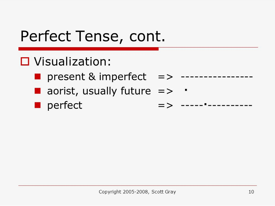 Copyright 2005-2008, Scott Gray10 Perfect Tense, cont. Visualization: present & imperfect=> ---------------- aorist, usually future=> · perfect=> ----