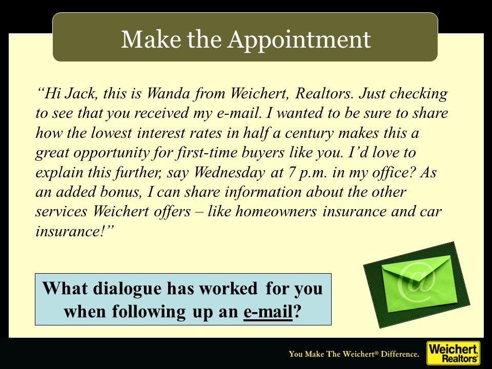 Make the Appointment Hi Jack, this is Wanda from Weichert, Realtors. Just checking to see that you received my e-mail. I wanted to be sure to share ho