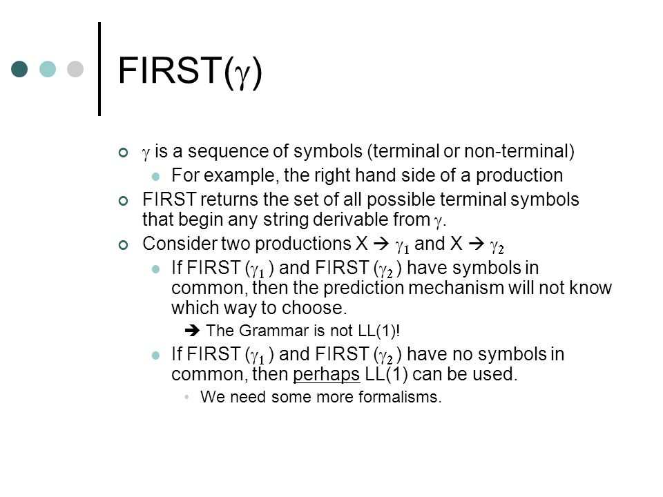 FIRST( ) is a sequence of symbols (terminal or non-terminal) For example, the right hand side of a production FIRST returns the set of all possible te