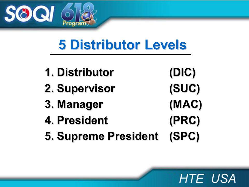 5 Distributor Levels 1. Distributor (DIC) 2. Supervisor (SUC) 3. Manager (MAC) 4. President (PRC) 5. Supreme President (SPC)