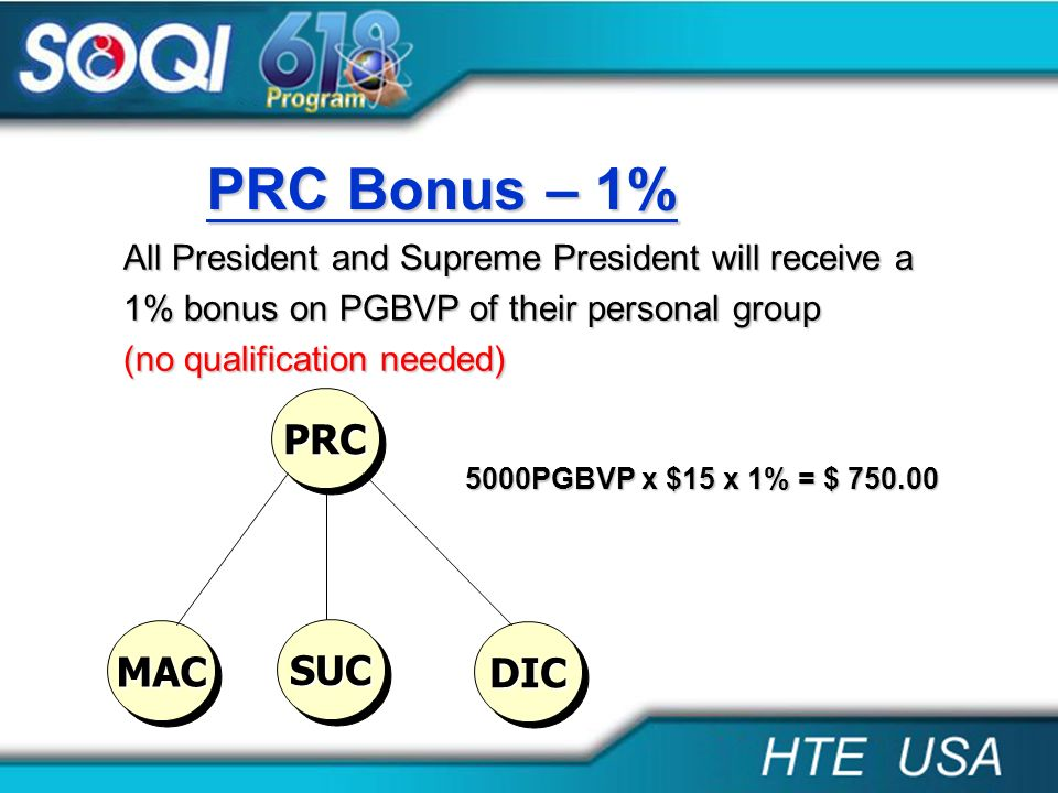 PRC Bonus – 1% All President and Supreme President will receive a 1% bonus on PGBVP of their personal group (no qualification needed) PRCPRC MACMAC SU
