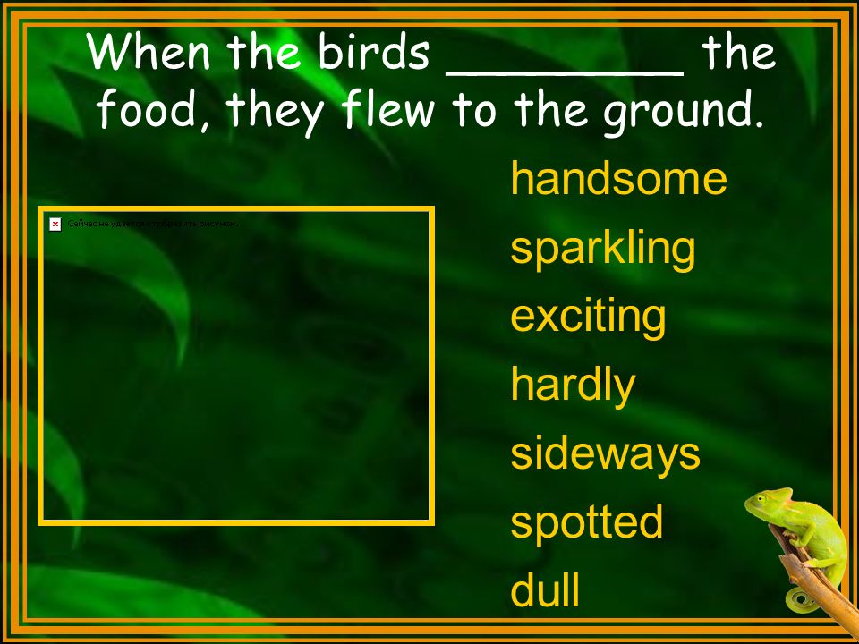 When the birds ________ the food, they flew to the ground. handsome sparkling exciting hardly sideways spotted dull