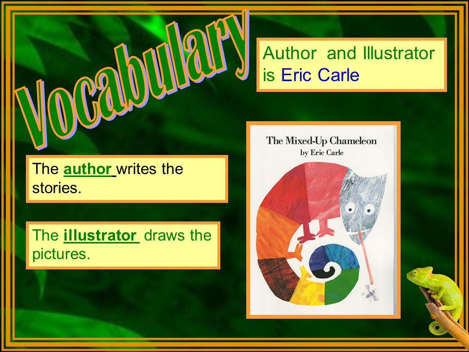 The author writes the stories. Author and Illustrator is Eric Carle The illustrator draws the pictures.
