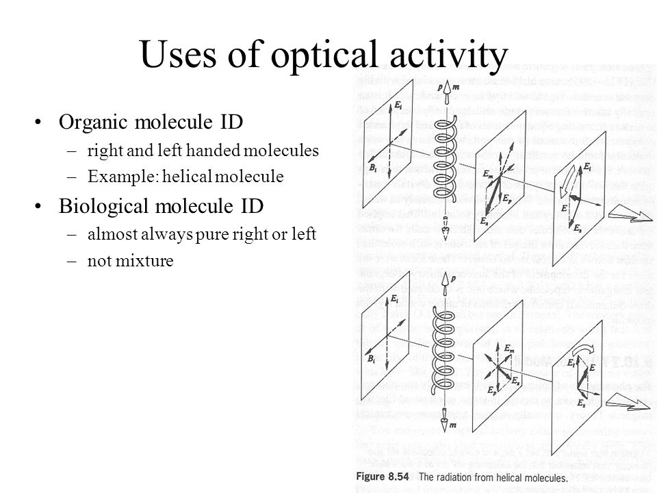 Uses of optical activity Organic molecule ID –right and left handed molecules –Example: helical molecule Biological molecule ID –almost always pure ri