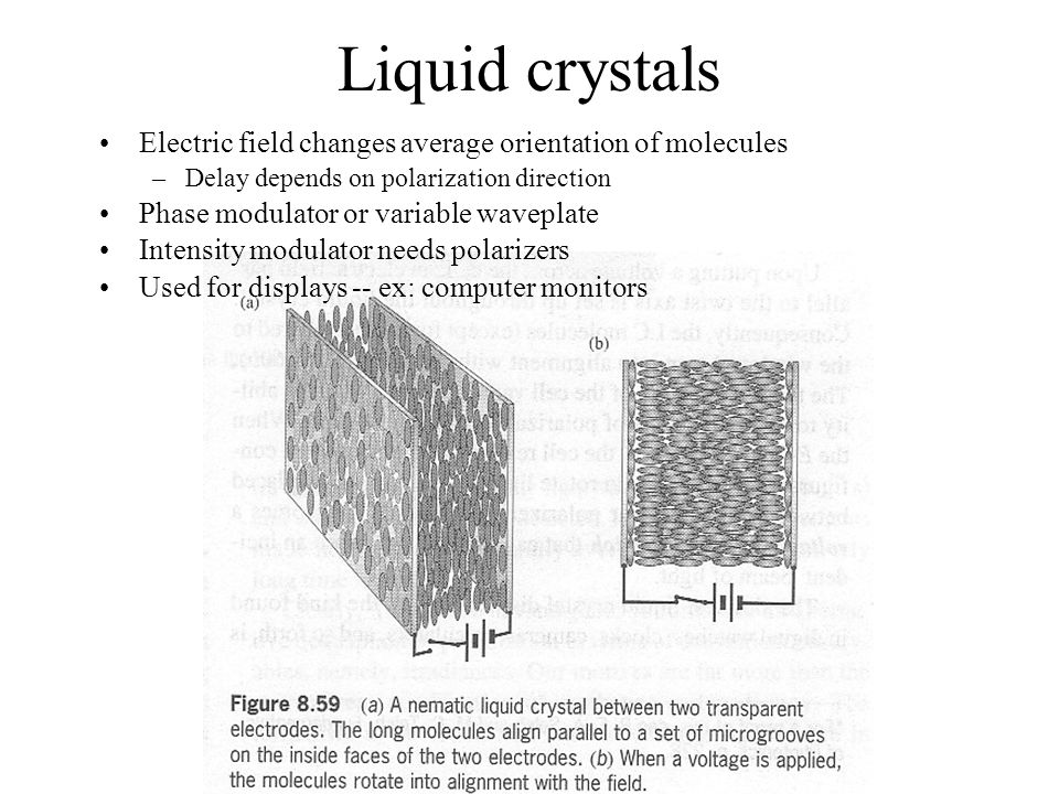 Liquid crystals Electric field changes average orientation of molecules –Delay depends on polarization direction Phase modulator or variable waveplate