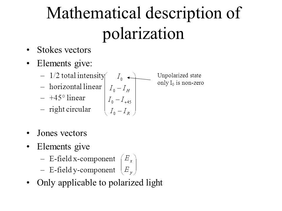 Mathematical description of polarization Stokes vectors Elements give: –1/2 total intensity –horizontal linear –+45° linear –right circular Jones vect
