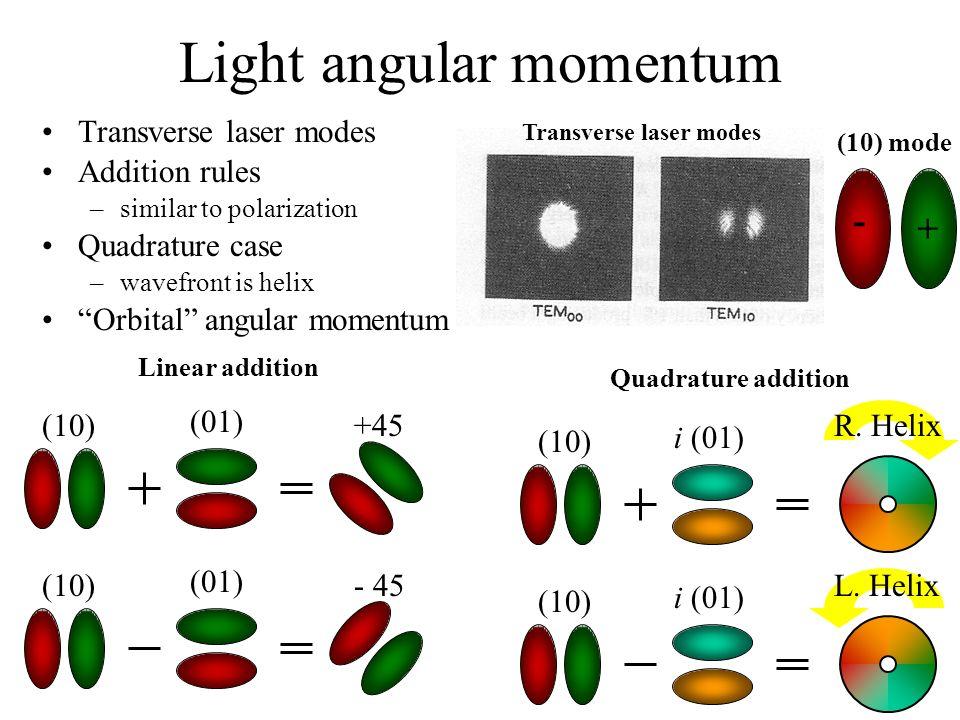 Light angular momentum (10) (01) +45R. Helix Linear addition Quadrature addition (10) (01) - 45 Transverse laser modes (10) mode - + Transverse laser