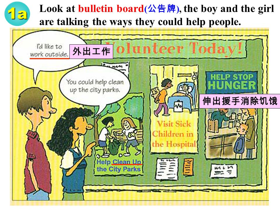 1a Look at bulletin board ( ), the boy and the girl are talking the ways they could help people.